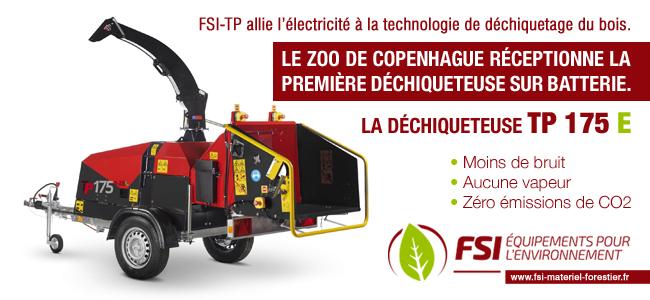 FSI-TP allie l'électricité à la technologie de déchiquetage du bois.